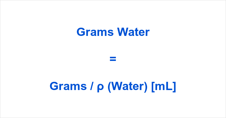 Grams to mL Water